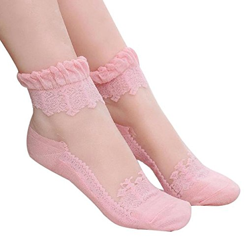 Women Beautiful Ultrathin Transparent Non Slip Soft Crystal Lace Elastic Short Socks (White) (Pink)