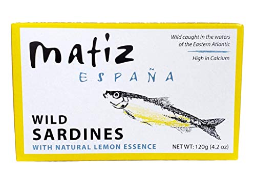 Matiz España Wild Caught Sardines with Natural Lemon Essence (4.2 oz. - 5 Pack) Keto and Paleo Friendly (5 Ct Tin)