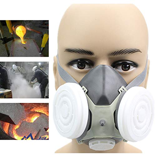 Tank Gas Mask - Anti Dust Respirator Gas Safety Half Face Mask Dual Filter Chemical Spray Painting Tool