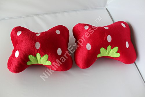 2pcs Cute Strawberry Cartoon Plush Auto Car Seat Headrest...