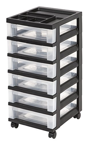Cheap Storage Drawers (IRIS 6-Drawer Rolling Storage Cart with Organizer Top,)