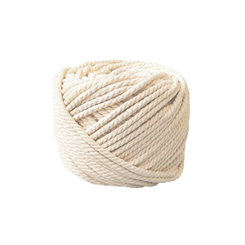 Ialwiyo Handmade Decorations Natural Cotton Bohemia Macrame DIY Wall Hanging Plant Hanger Craft Making Knitting Cord Rope Natural Color Beige (3mm x 100m(about 109 yd))