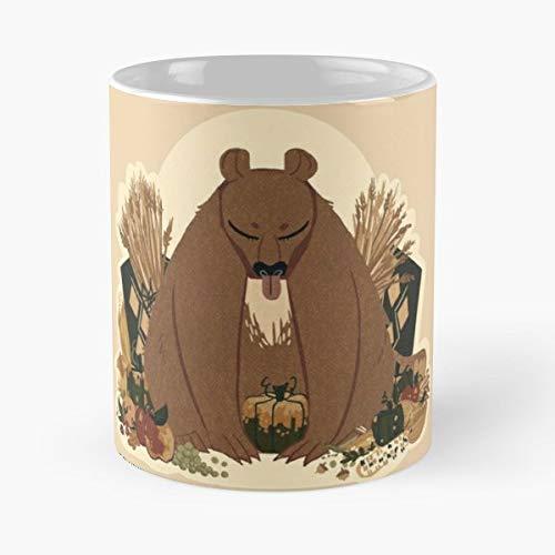 Autumnal Fall Pumpkins Wheat - Ceramic Novelty Mugs 11 Oz, Funny Gift