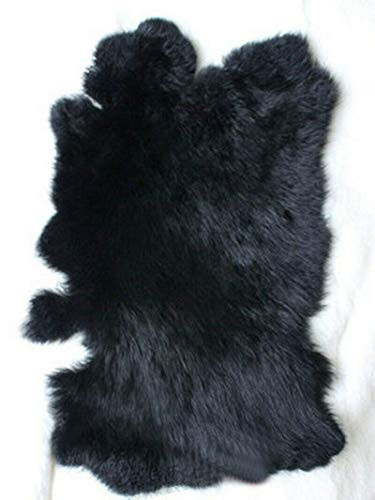 "Natural Tanned Assorted Rabbit Pelts Rabbit Fur Hide (11"" by 14"" Rabbit Pelt with Sewing Quality Leather) (Natural Black)"