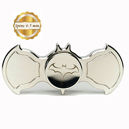 Batman Fidget Spinner. BRASS, Metal, Silver Bat Shaped Fidget Hand Spinner. SOLID, Durable. Stress Reducer & Perfect for ADHD, ADD, Anxiety. 100% Satisfaction Guarantee