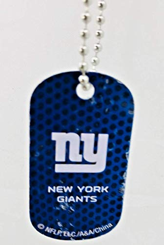 Mirror Mania New York Giants NFL Football Dog Tag Chain Personalized Free Engraved Custom Name On Back - a Chain, Keychain, Luggage tag, or Clip on Backpack or Bag.