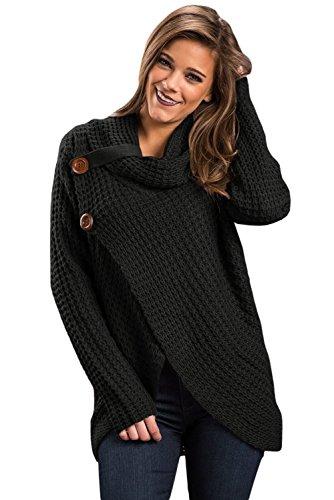 Cowl Size Nero disegno S Plus maglione nero Neck Pullover incrociato BaronHong unico Maglione qUwgE74Yx