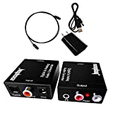 Easyday Digital to Analog Audio Converter with Digital Optical Toslink and S/pdif Coaxial Inputs and Analog RCA and AUX 3.5mm (Headphone) Outputs - 5 Foot Heavy Duty Optical Toslink Cable