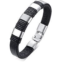 MPRAINBOW PU Leather Bracelet for Men Alloy Cuff Bracelet for Men Boy 21.5cm