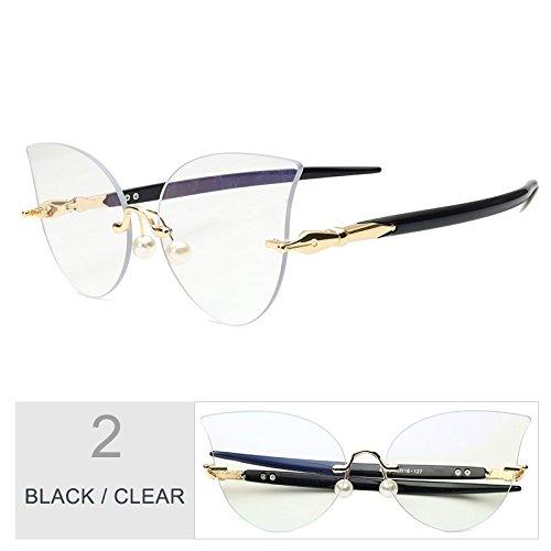 Gato De De Sol TIANLIANG04 Ojo Clear Perla Reborde Sin Mujeres De Decoración Gafas Negro Black Gafas Gris 71t1x5wI
