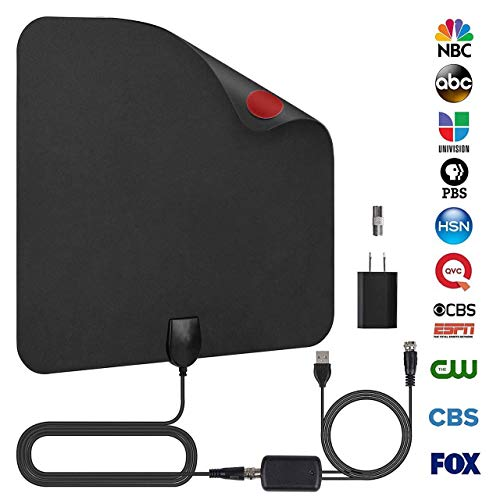 AMZ Original TV Antenna Indoor - 50-80 Long Range with Amplifier Signal Booster Support 4K 1080p for Free HD Antenna - Power Adapter and 16.5ft Longer Coax Cable(Black)