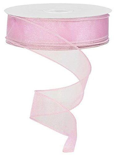 - Sheer organza ribbon wired 150ft spool (pink)