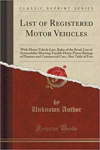 List of Registered Motor Vehicles: With Motor Vehicle Law, Rules of the Road, List of Automobiles Showing Taxable Horse-Power Ratings of Pleasure and ... Cars, Also Table of Fees (Classic Reprint)