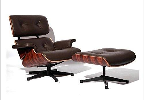 - EOE Simple Modern Fashion Style Living Room Genuine Leather Wood Lounge Chair And Ottoman (rosewood brown)