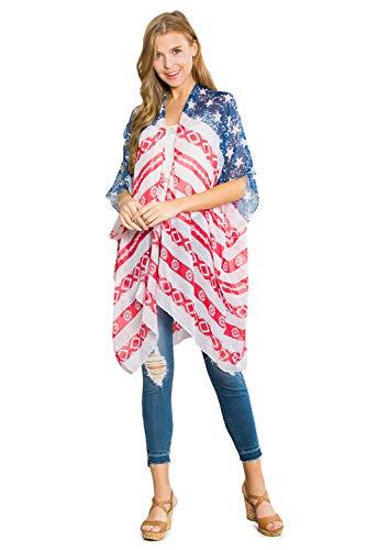 American Flag Print Cardigan - July 4th USA Star & Stripe Pattern Lightweight Shawl Open Kimono Cardi, Long Vest (Kimono Cardi - Aztec ()