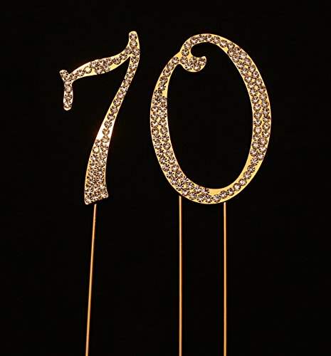 Numbrer 70 for 70th Birthday or Anniversary Cake Topper Party Decoration Supplies, Gold, 2.75 Inches Tall (Keepsake Cake Collection Top)