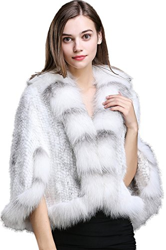 TOPFUR Women's Shawl Knitted Real Mink Fur Winter Cappa with Real Fox Trim by TOPFUR