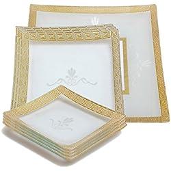 GAC Designed Square Tempered Glass Dinnerware Set Service for 6, with Square Serving Platter Plus Bonus Glass Rectangular Platter – Break Resistant – Oven, Microwave, and Dishwasher Safe