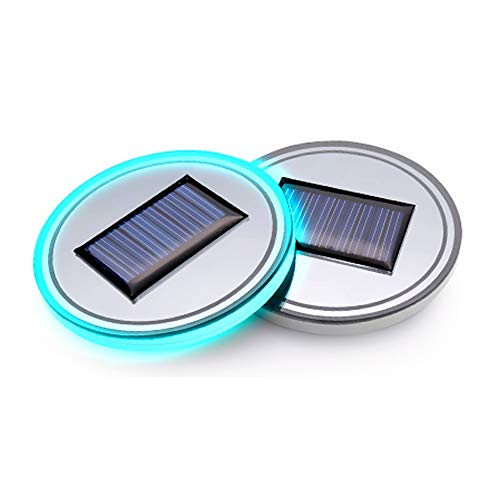 (Pack of 1) Solar Energy LED Car Cup Holder Bottom Pad Mat Interior Lights Fitment Trim Lighting Automotive Lamps for Fiat 500 Abarth 500l 500x Panda Spider 124 500e Freemont Bravo Linea Accessories