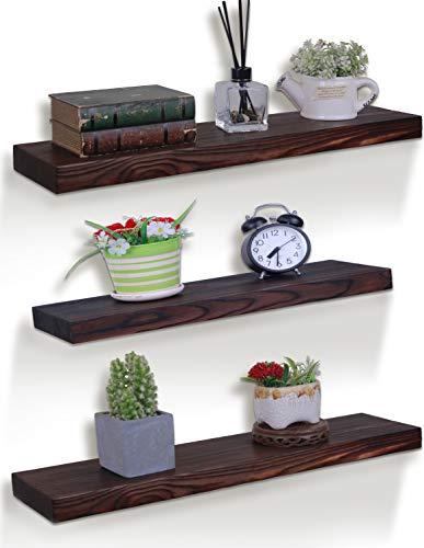 HXSWY Rustic Floating Shelves Farmhouse Wood Shelves Wooden Wall Shelf Set of 3