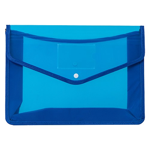 File Folders Expanding Poly Wallet File Organizer Protector 3.5 inch Expansion,Buckle to Close,Letter Size 3 Colors (Blue) ()