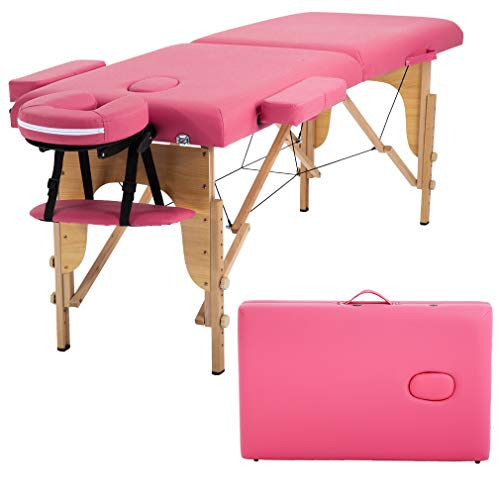 Massage Table Massage Bed Spa Bed 73 Inches Long 2 Folding Portable Massage Table W/Carry Case Height Adjustable Salon Bed Face Cradle Bed