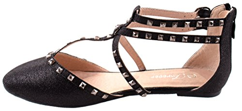 Round Studs on Rhinestone Straps Shoes Women's with Crossed Bella Forever 61 Straps Flats Black Criss Toe 7HInAOqORw