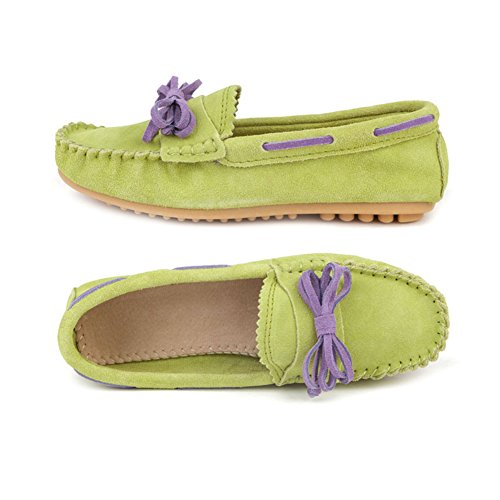 Faloaon Damer Slip-on Mocka Läder Loafers För Kvinnor Casual Drivskor Lyser Grönt