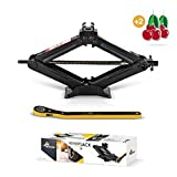 Amvia Scissor Jack for Car - 1.5 Ton (3,300 lbs)   Car Jack Kit - Tire Jack   Portable, Ideal for SUV and Auto - Smart Mechanism with Ratchet   Heavy Duty Material