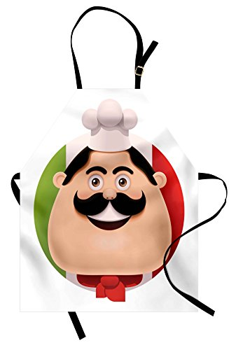 (Lunarable Italian Flag Apron, Cartoon Chef with Mustache Cuisine Cooking European Kitchen Pizza Pasta Yummy, Unisex Kitchen Bib Apron with Adjustable Neck for Cooking Baking Gardening,)