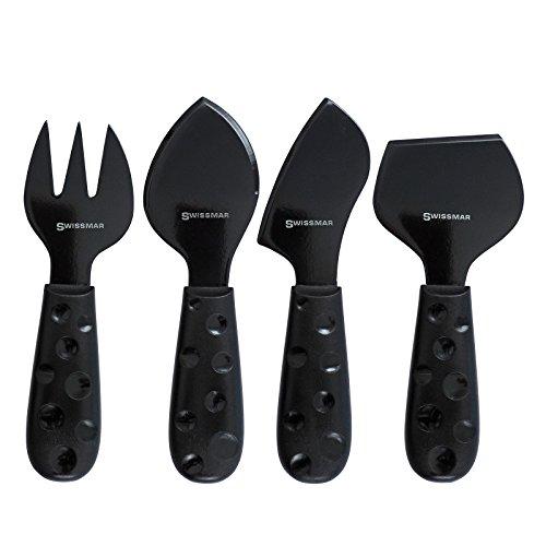 Swissmar Petite Suisse 4 Piece Cheese Knife Set, Black (Swissmar Knives)