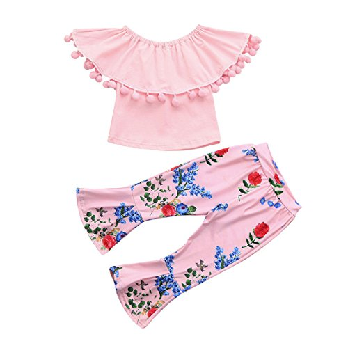 ZHANGVIP 2018 New 2Pcs Toddler Baby Kids Girls Solid Off Shoulder Tops+Floral Pants Set Outfits (18M, Pink (Baby Pink Cheerleader Dress)