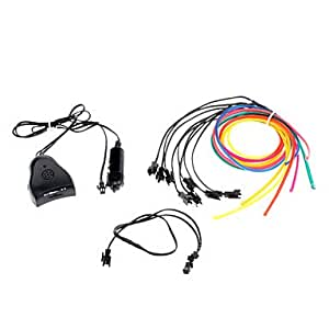 Happy 3 Meter Flexible Car Decorative Neon Light 4mm EL Wire Rope with Sound Activated , Purple
