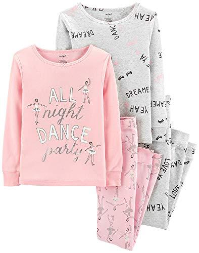 Carter's Girls' 4-Piece Snug Fit Cotton Pajamas (Pink/Dance, -