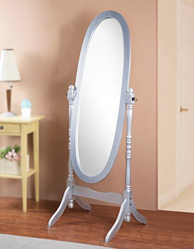 Roundhill Furniture 3488SL Queen Anna Style Floor Cheval Mirror, Silver