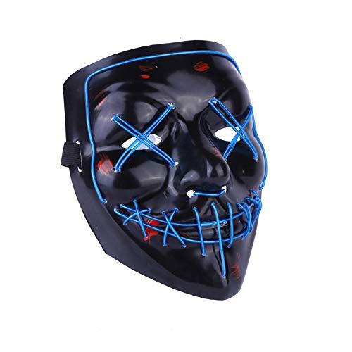 Kimkoala LED Light Cosplay Mask Halloween Frightening EL Light Up Luminous Glow Masks for Festival Dance Parties Costume(Blue)]()