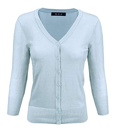 YEMAK Women's 3/4 Sleeve V-Neck Button Down Knit Cardigan Sweater CO078-SBL-2X Sky Blue ()