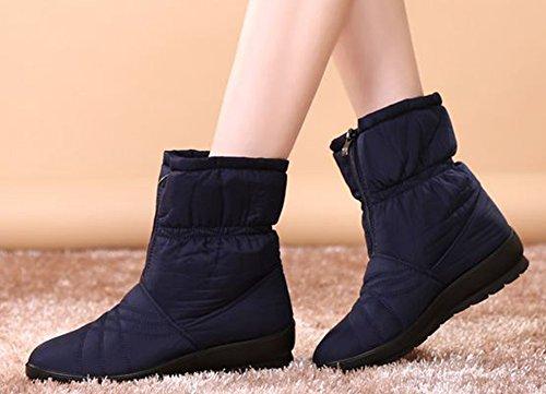 with Calf Winter Warm Snow Blue Zipper Women's Wide Ankle Labato Waterproof Style Boots XqIvTxp