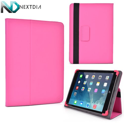 """Alcatel One Touch Tab 7 PVC Cover Case Folio Stand with Soft Grip Clips - Universal Style fits Most 8"""" Devices   Foxy Pink"""