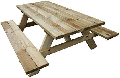 Mesa Picnic de madera para jardín. Madera tratada para exterior de ...