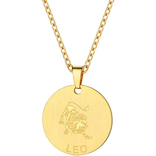 PROSTEEL Leo Zodiac Star Sign Coin Necklace 18K Gold Constellation Horoscope Pendant Celestial Astrology Men Women Jewelry Birthday ()