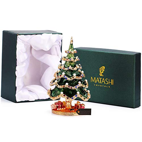 Matashi Hand Painted Trinket Box | Hand-Painted Jewelry Holder with Elegant Crystals |Collectible Figurine & Decorative Living Room Jewelry Holder (Xmas Tree)