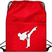 Kunzite Luminous Taekwondo Gym Drawstring Bags Martial Arts Mesh Bag Portable Fitness Double Shoulder Backpack