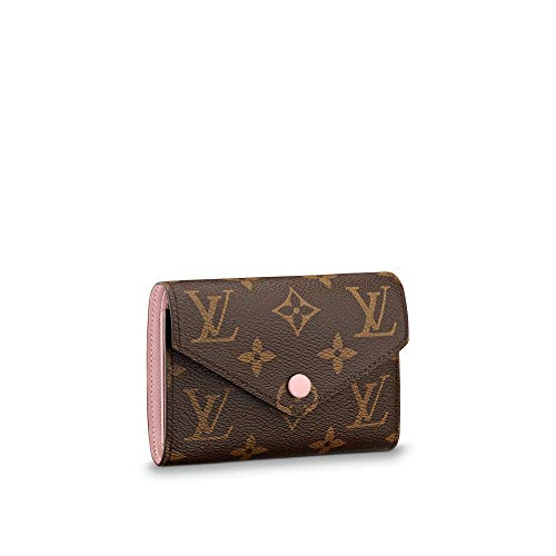 kjelaeg Retro Monogram Practical Compact Wallets Printed Canvas Leather Zipper Coin Purse Pocket for Women 12.0 x 9.5 x 2.5 cm