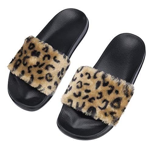 (Women's Fluffy Faux Fur One-Strap Slipper Flip Flop Sandals Comfort Lightweight Indoor Shoes Flat Shoes Coffee)
