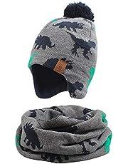 Zsedrut Winter Baby Girl Hat & Scarf Set Little Kid Dinosaur Warm Earflap Hats Comfortable Neck Warmer