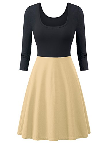 Dress Summer Dresses A Sleeve Line 3 Casual Amoretu Skater Flared pale Mini Women Yellow 4 wapIx5nqSZ