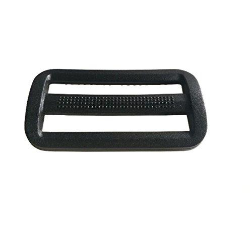 10 Pcs 2 Inch Plastic Triglides Slides Black Plastic Adjuster Fastener for Camping Bag Belt Webbing Strap Backpack Bag (50mm, Black)
