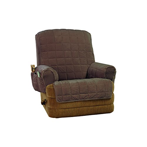 SureFit Silky Touch Non-Slip Recliner Furniture Cover-Chocolate