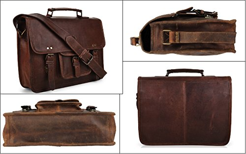 15 Inch Leather Vintage Rustic Crossbody Messenger Courier Satchel Bag Gift Men Women ~ Business Work Briefcase Carry Laptop Computer Book Handmade Rugged & Distressed ~ Everyday Office College School by RusticTown (Image #4)